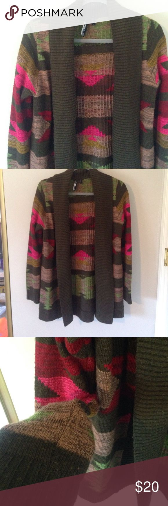 O'neil Long southwestern sweater Southwestern flair worn but lots of life left in this adorable sweater, perfect for fall. Some piling on inner sleeve and front typical sweater spot for friction. Dark olive green base with beige, hot pink, light green, and deep red design. O'Neill Sweaters Cardigans