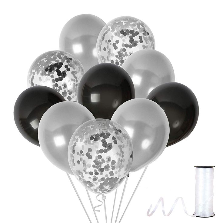 Black Silver Confetti Balloons Party Kit For Birthday Graduation Retirement Engagement
