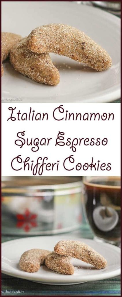 Italian Chifferi Cookies with Espresso and Cinnamon-Sugar are a fun twist on wedding cookies. Perfect for Christmas cookie exchanges and Holiday cookie tins!