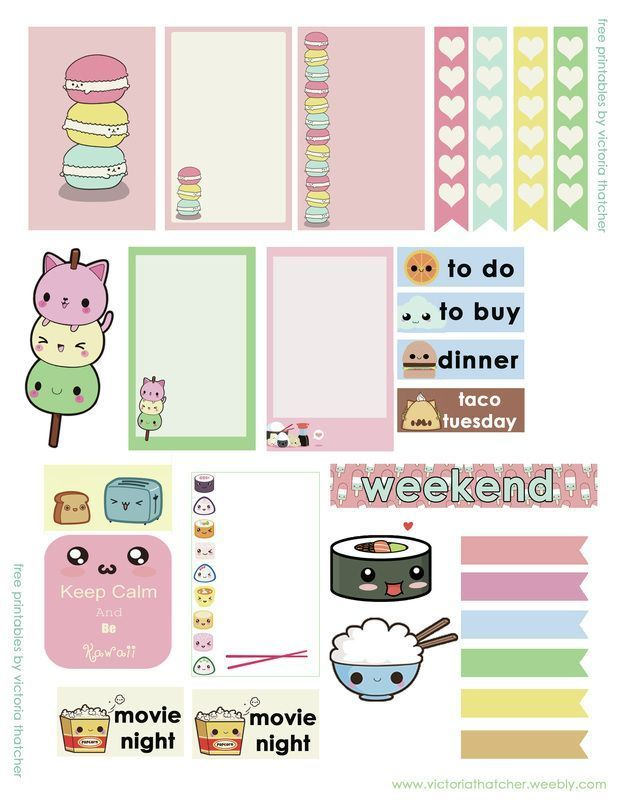 Super Cute Kawaii Stickers Printable For Your Planner Rice