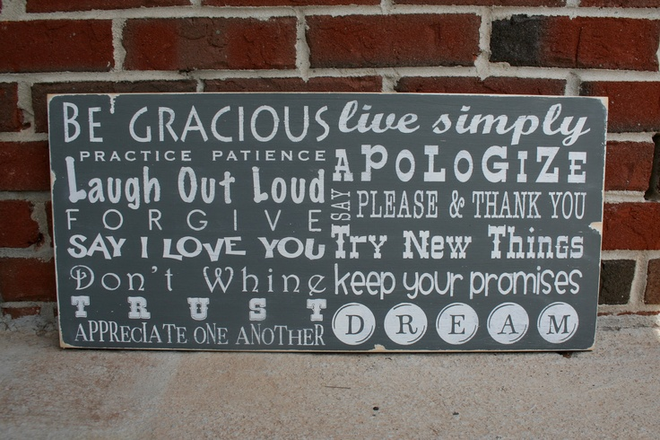 Family Rules Sign Fun and Whimsical in Landscape - Typography Word Art. $95.00, via Etsy.