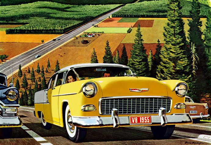 Plan59 :: Classic Car Art :: Vintage Ads :: 1955 Chevrolet  |  Bruce Bomberger