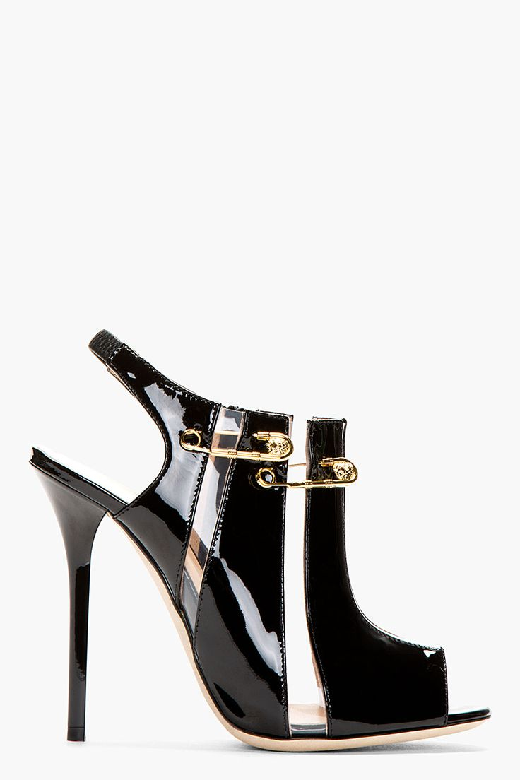 "VERSUS Black Patent Leather Cut-Out Peep Toe Heels.see  ..  ❤︎.❤︎...""How to make high heels -boots and shoes - comfortable - you tube  at    https://www.youtube.com/watch?v=OwGBW17fdxU   ...also see hopscotch in 4 inch heels!!..."