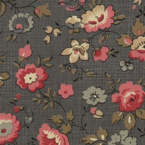 "Precut ""Almost One Yard"" - Tela Estampada - Floral - Granate/Cerceta"
