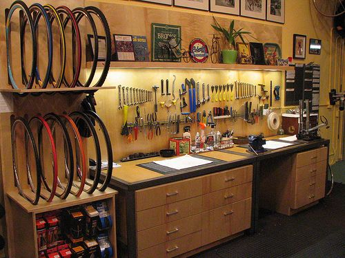 Love the organisation in this bike workshop - especially the lighting (there's no link to a website)