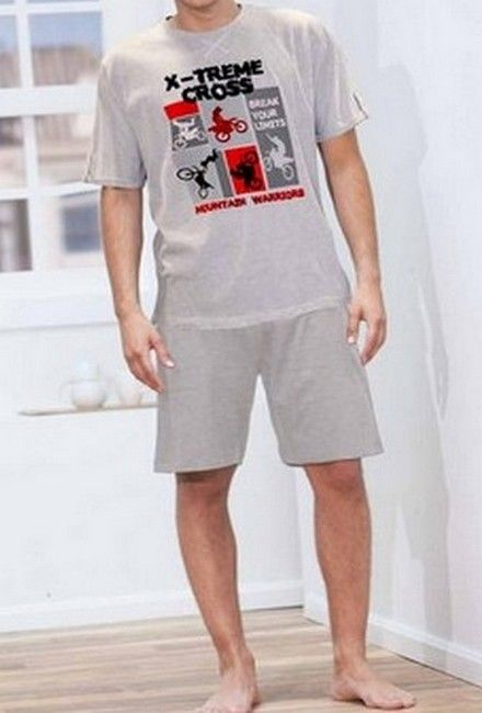 pyjama gris original court pour homme moderne pyjama homme admas. Black Bedroom Furniture Sets. Home Design Ideas