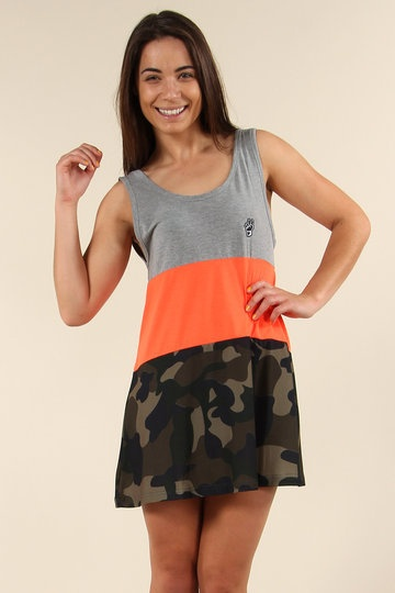 Can't+decide+which+trend+to+tackle+this+season?+Wear+them+all+at+once+with+this+stylish+ilabb+dress.+With+neon+orange,+block+colour+and+army+camouflage,+it+ticks+all+boxes.+