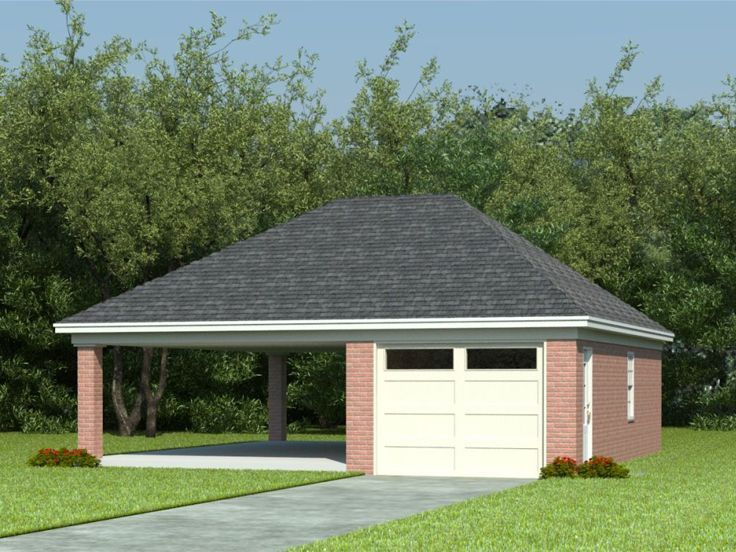 82 best carport garage images on pinterest carport for Detached garage with carport