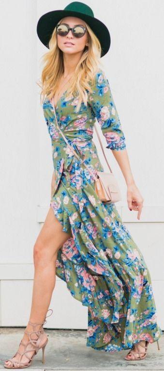 Floral Wrap DressAngelFoodStyle #floral
