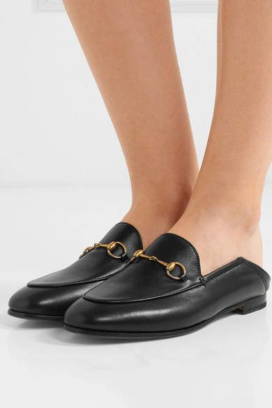 bae929a17cf8 Gucci Brixton Horsebit-detailed Leather Collapsible-heel Loafers - Black   Horsebit detailed