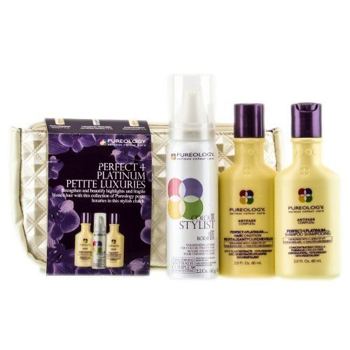 Pureology Perfect 4 Platinum Petite Luxuries - Kit by Pureology. $27.58. What is this product?Strengthen and beautify highlights and fragile blonde hair with this collection of Pureology petite luxuries in this stylish clutch.More info:Includes :Perfect4Platinum - Shampoo 2 ozColourStylist SilkBodifier - zero dullling hairspray 2.2 ozPerfect4Platinum - HairCondition 2 oz