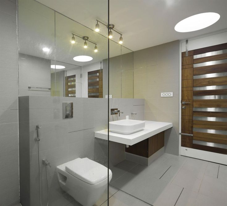 Captivating Home Design, Awesome And Minimalist Bathroom Interior Decoration With  Ceiling Light Concept Plus Floating Washbasin