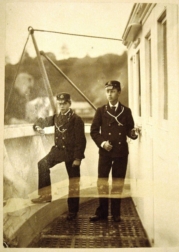 Prince Albert Victor and Prince George of Wales on board HMS Britannia | Royal Collection Trust