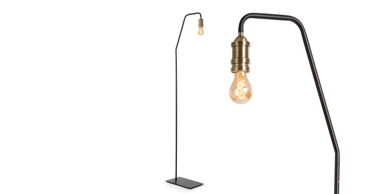 Starkey Floor Lamp, Black and Brass | made.com