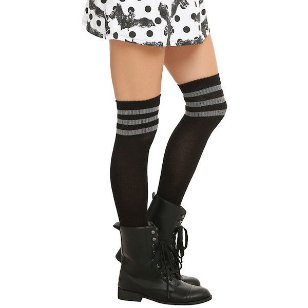 LOVEsick Black Grey Knee-High Crew Socks Hot Topic ($5.20) ❤ liked on Polyvore featuring intimates, hosiery, socks, stripe socks, striped knee high socks, knee high socks, crew length socks and gray socks