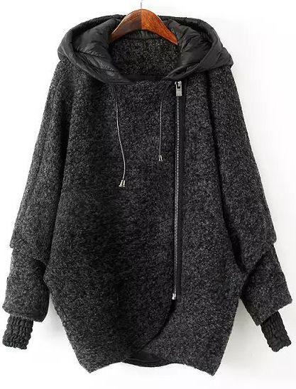 Abrigo suelto con capucha cremallera manga larga-gris 56.38