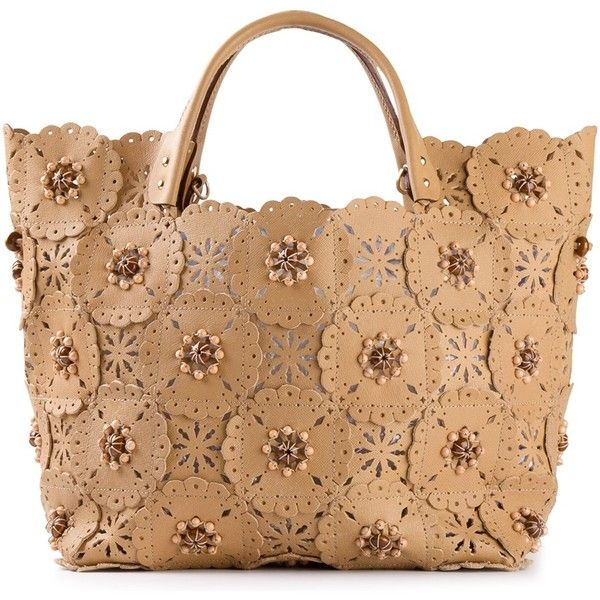 JAMIN PUECH Applique Floral Tote in Natural S/S 2014: