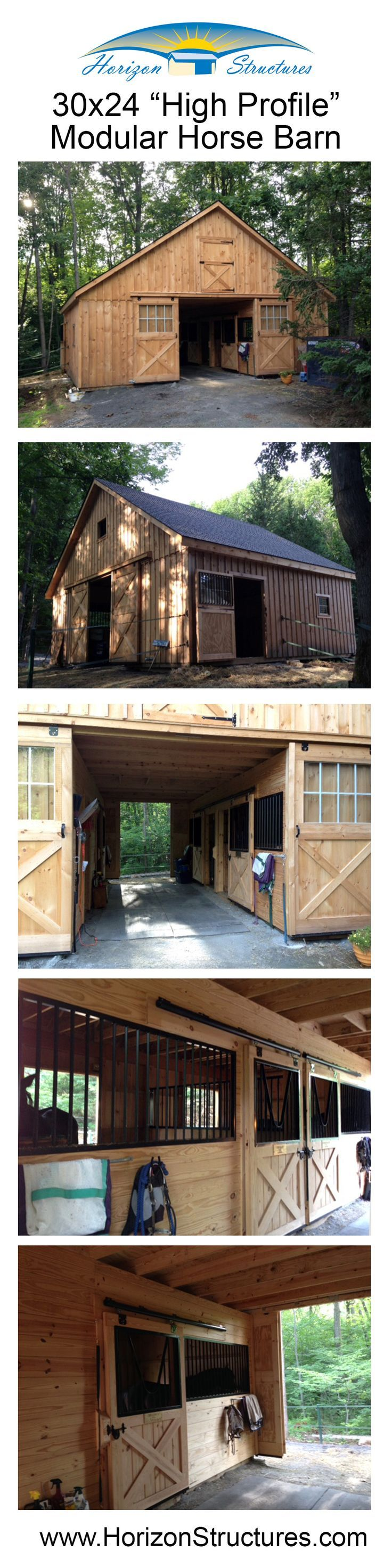 """30x24 """"high profile"""" modular barn. Includes 3 - 10x12 stalls, 10x12 tack/feed room and a full loft. The stall windows were upgraded to Dutch-style doors to allow the horses access to turnout without having to go through the barn. Delivered in 2 pre-built halves, our crew adds the roof on-site. Ready for your horses in 2-3 days."""