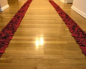 Petal Isle runner, glue fake petals to two runners down each side of the isle.