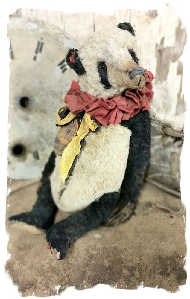 "Image of Vintage Style Worn - 9.5"" Circus Panda Bear - By Whendi's Bears"