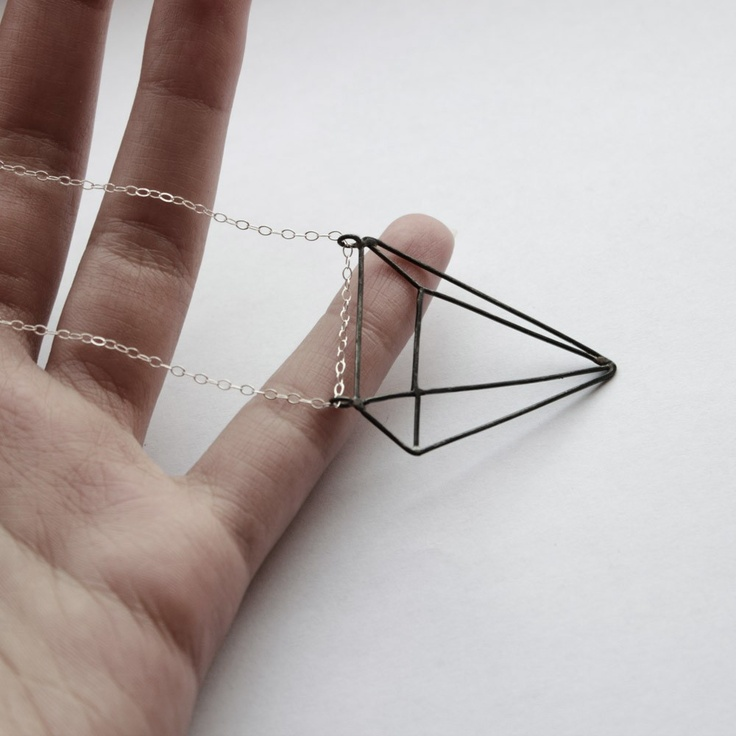 Pyramid: sterling silver necklace with oxidized pendant