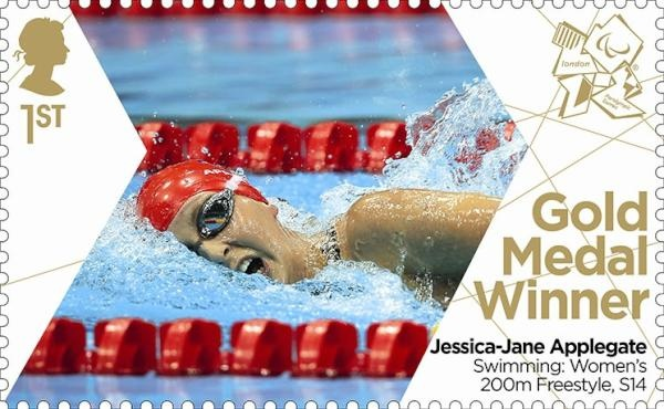 Paralympics Gold Medal Winner stamp - Swimming: Women's 200m Freestyle, S14, Jessica-Jane Appelgate.