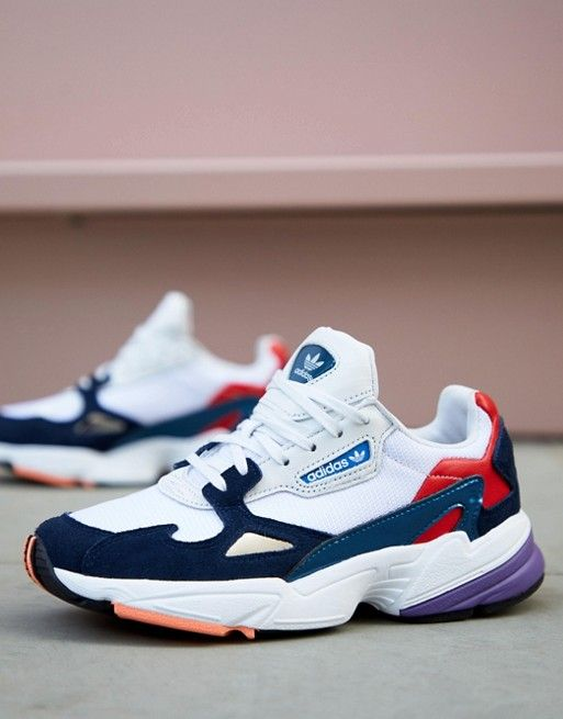 adidas Originals white and navy Falcon sneakers