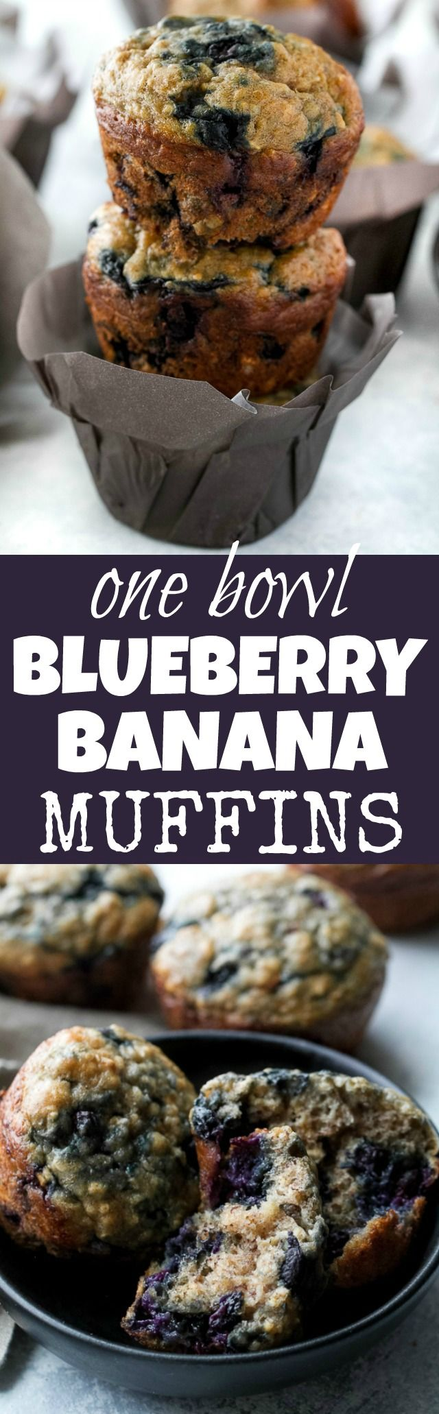 These blueberry banana oatmeal muffins are made with NO butter or oil, but so soft and tender that you'd never be able to tell! Super easy to whip up in only ONE BOWL, they make a deliciously healthy breakfast or snack. | runningwithspoons.com