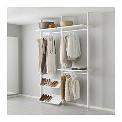 IKEA - ELVARLI, 2 elementen, Je kan deze open opbergoplossing altijd naar behoefte aanpassen of aanvullen. Misschien is de voorgestelde combinatie geschikt, anders kan je altijd een eigen maatwerkcombinatie samenstellen.Door de verstelbare planken en kledingroedes kan je de ruimte eenvoudig aanpassen aan de behoefte.Je kiest zelf of je de open opbergoplossing tegen een muur wil zetten of deze als scheidingswand wilt gebruiken omdat de zijsteun aan het plafond wordt bevestigd.