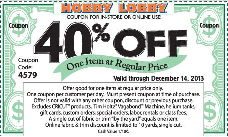 Hobby Lobby Coupons and Codes- Get 40% off on regular priced item at Hobby Lobby with coupon. See Hobby Lobby Coupons and Codes here: http://www.bestfreestuffguide.com/Free_Hobby_Lobby_Coupons_and_Codes