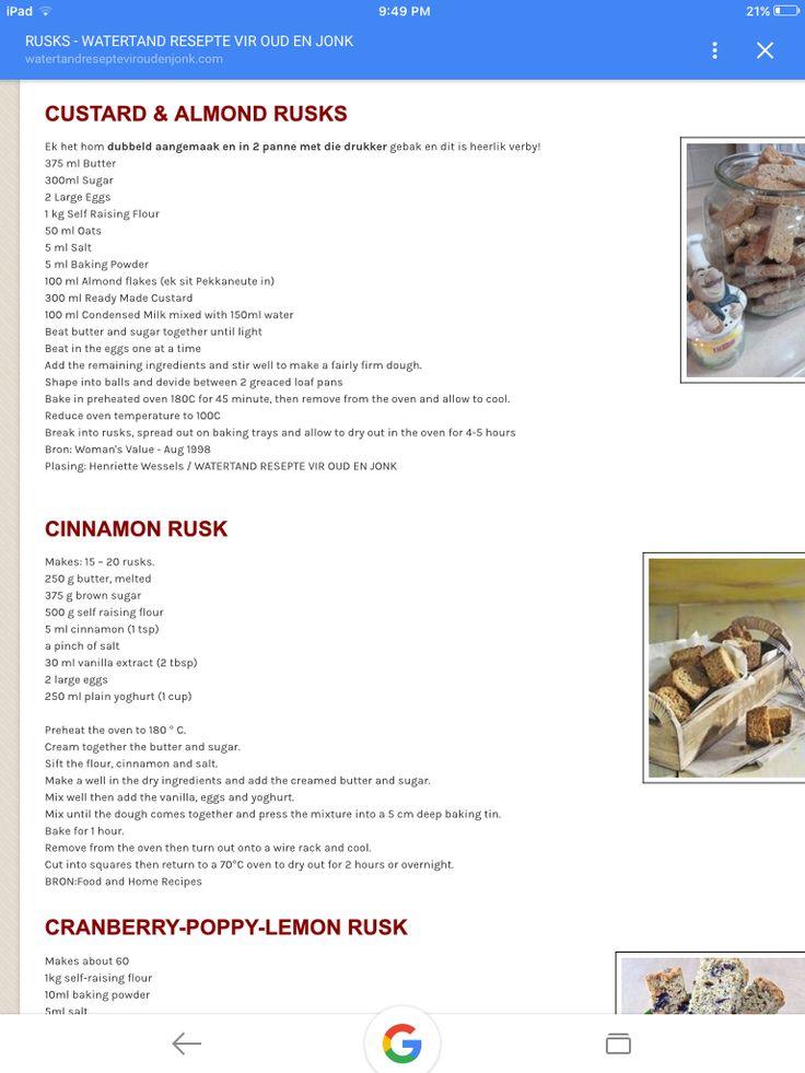 Custard and almond rusks