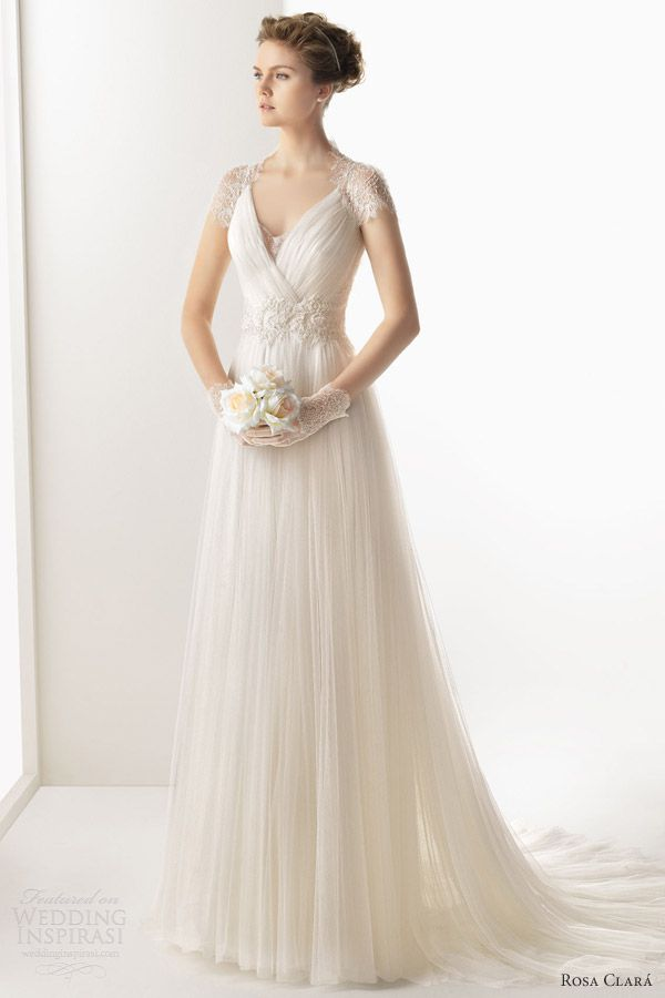 rosa clara 2014 soft wedding dresses unax scalloped cap sleeve lace back gown illusion back front view