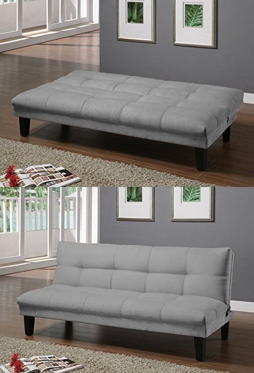 Major Q Grey Velvet Fabric Pillow Top Convertible Adjule Futon Couch Sofa Bed Sh8513651