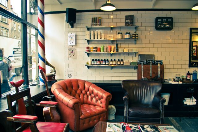 Huckle the Barber, waiting area - Sociable waiting area