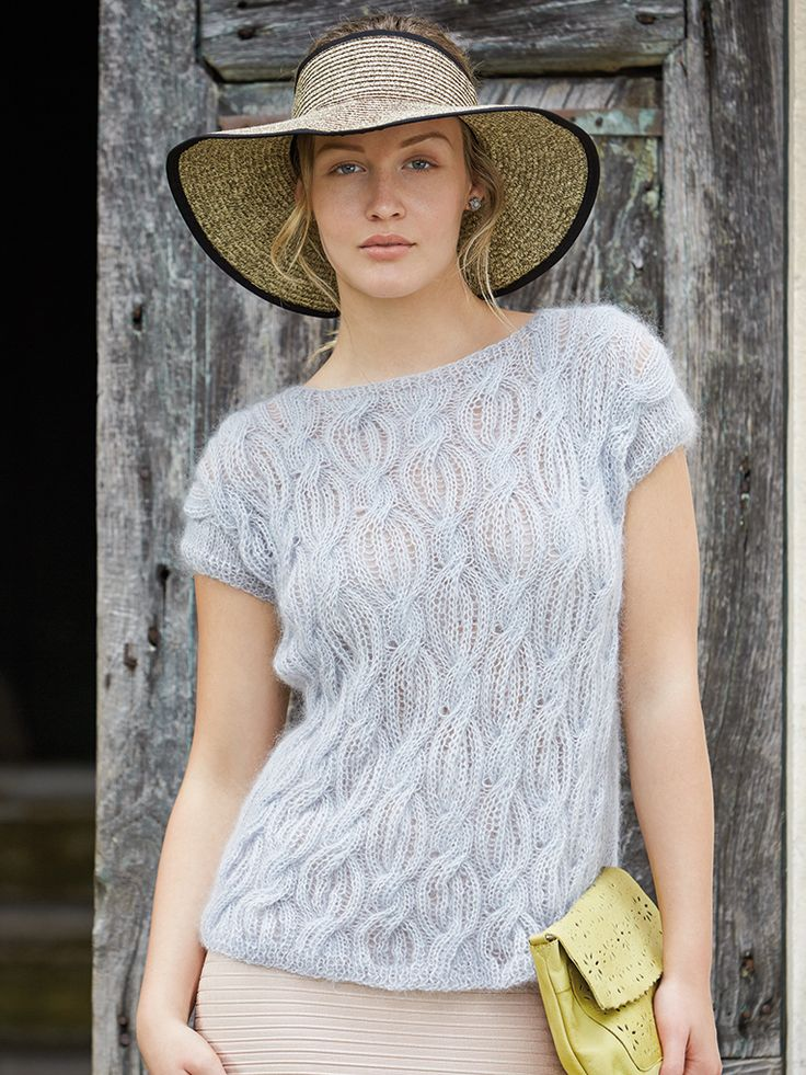 Violetta - Knit this unusual womans cap sleeved open back top from Rowan Knitting & Crochet Magazine 57, a design by Vibe Ulrik using Kidsilk Haze (mohair and silk) and Fine Lace (alpaca and wool) with lace front, and stocking stitch back. This knitting pattern has a three star difficulty rating.