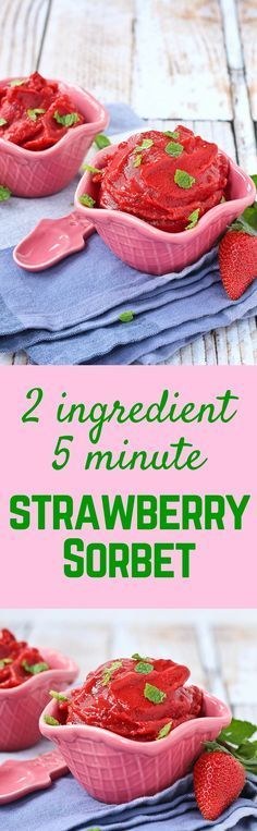 All you need are a blender, two ingredients, and five minutes for this refreshing and healthy strawberry sorbet with mint.