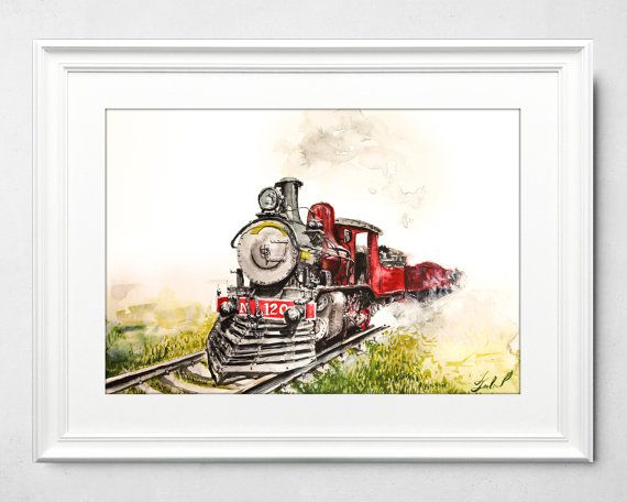 Detailed Train Watercolor painting by Ivars Selickis #watercolor #watercolorpainting #detailed #train #trainpainting #steam #old train #vintagetrain