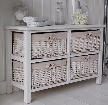 Free Standing Newport Bathroom Cabinet With 4 Basket Drawers