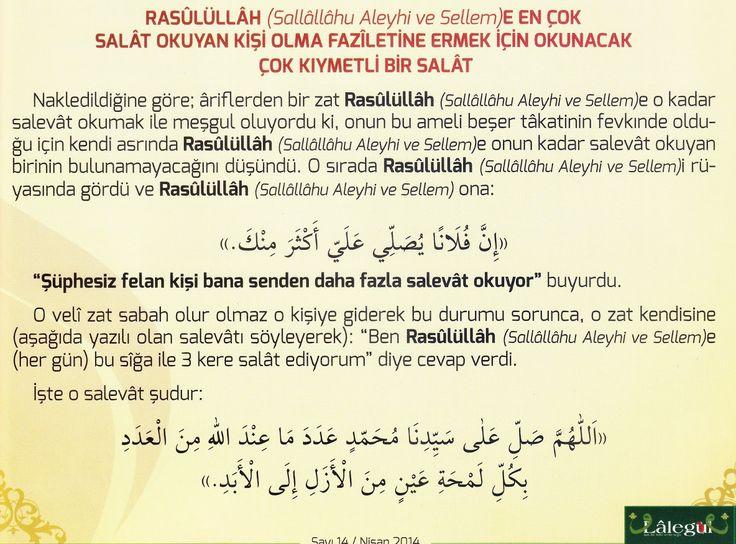 Rasûlüllâh (Sallallâhu Aleyhi ve Sellem)e En Çok Salât Okuyan Kişi Olma Faziletine Ermek İçin Okunacak Salavat