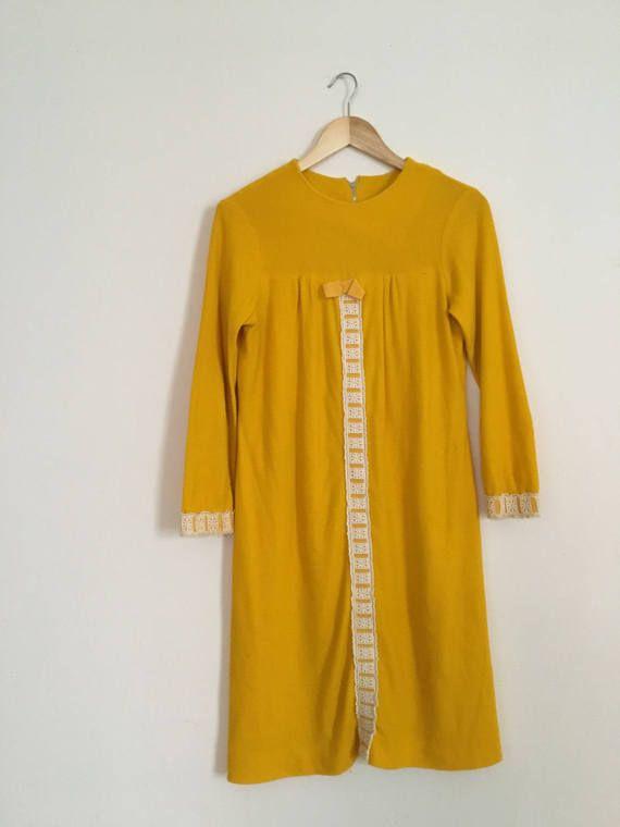 Vintage 1960s Mustard Yellow Dress  Sweetheart Shift Dress