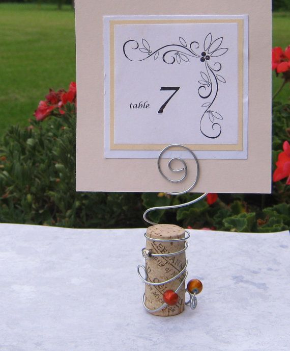 RESERVED - Wine Cork and Wire Table Card Holder for Weddings and Special Events for place card, table number, sign or photo via Etsy