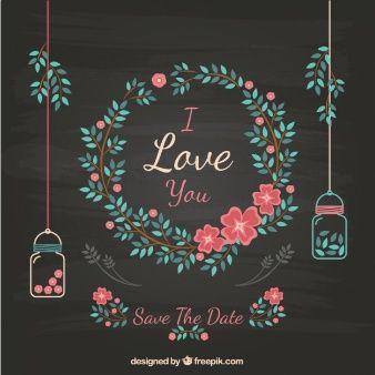 Convite floral do casamento no quadro-negro