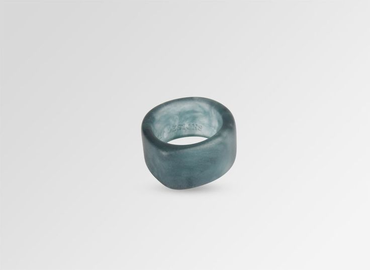 Resin Bucco Ring - Blue Ink Pearl Size P - Dinosaur Designs AU Store $50
