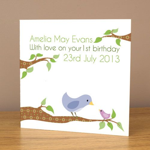 Personalised bird birthday card £3.99. Half price when purchased with any print. Can be personalised with your child's name, age and birth date