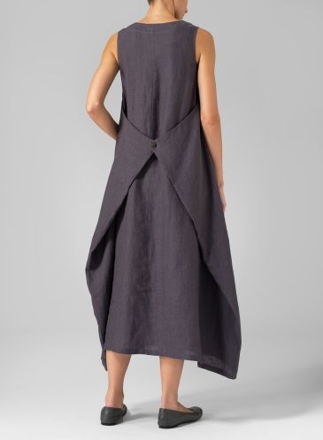 Linen Sleeveless Long Dress Dark Thistle