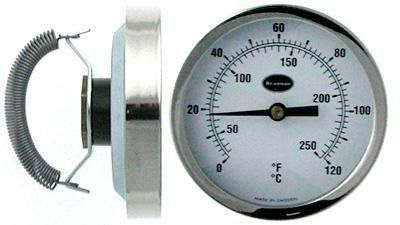 Clip on Hot Water Pipe Thermometer 0 to 120 C&F - With 66mm steel case, polished bezel and fixing spring.