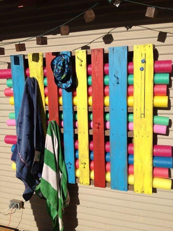 "DIY Pallet Organizer from ""Organized Pool Toys & Supplies"""