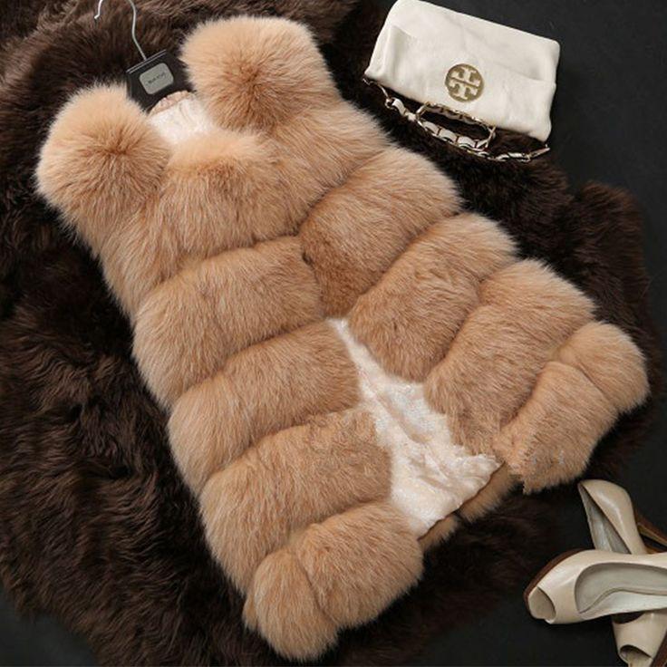 Nuovo 2016 Cappotto Invernale Donne Tutta La Buccia di Importazione di Volpe di Eco-pelliccia gilet di Pelliccia di Alta Qualità Cappotto Tempo Libero Shitsuke Cappotto Donna Taglia XXXL PC043