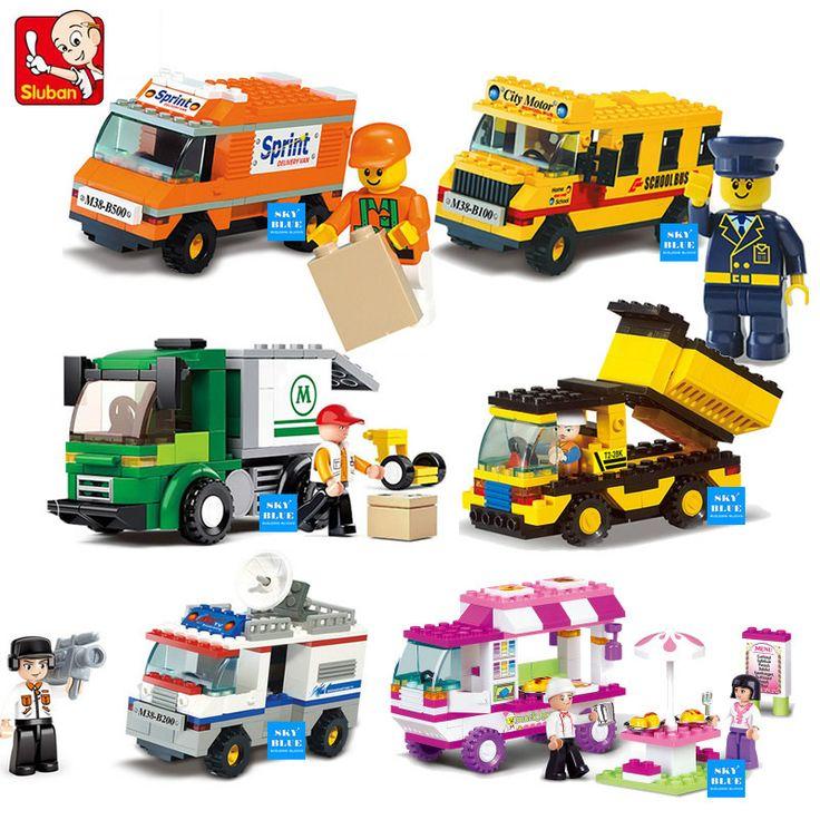 SLUBAN Building Blocks City House Snack Car TV Express Police Truck school bus Brick girls Toy #Affiliate