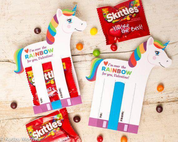 rainbow unicorn valentines printable diy instant download